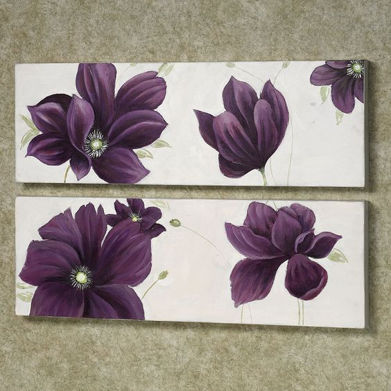 Purple Wall Decor For Bathroom : Floral whispers canvas wall art set