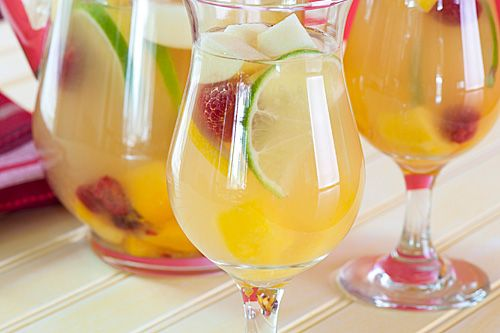 For white wine sangria, I like to make a sugar syrup, add cut fruit and let sit. Add the white wine just before serving.