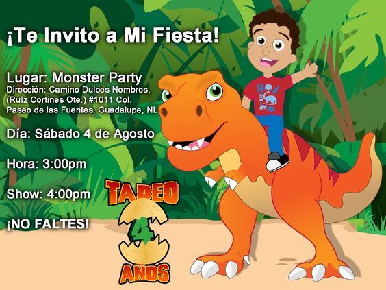 Invitación de la fiesta de mi sobrino Tadeo