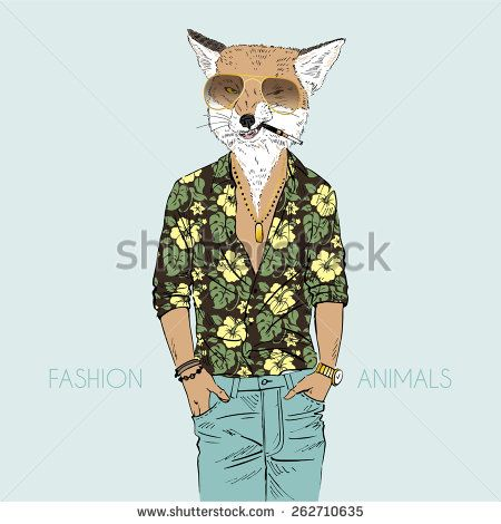 fox dressed up in aloha shirt - stock vector