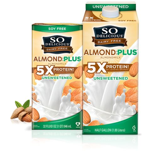 Almond Plus Milk delivers 5 times the protein and is both soy-free and dairy-free.