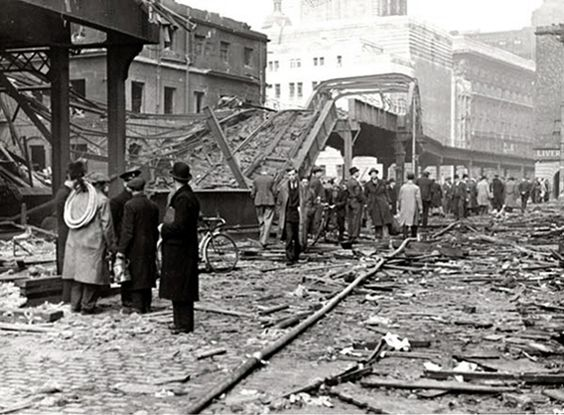 MAY 1941_ Blitz damage along the Overhead Railway at the junction of James and Strand streets.