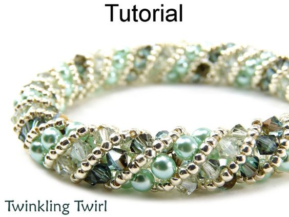Beading Tutorial Pattern Bracelet Necklace - Russian Spiral Stitch - Simple Bead Patterns - Twinkling Twirl #476