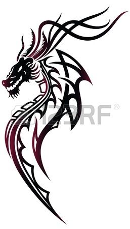 Fantasy dragon en rouge et noir, style tribal