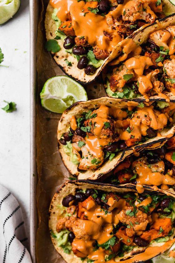 Roasted sweet potato + cauliflower tacos