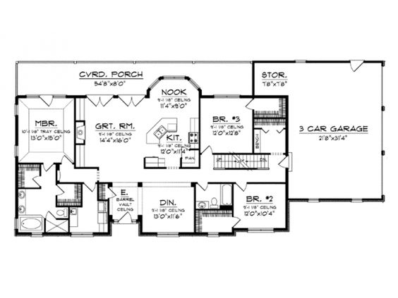 ePlans Ranch House Plan 2016 Square Feet and 3 Bedrooms from