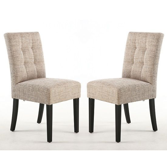 Catria Dining Chair In Tweed Oatmeal With Black Legs In A Pair