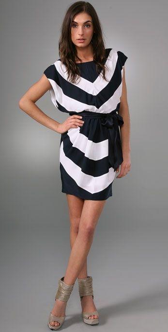 alice + olivia Chevron Dress with Tie