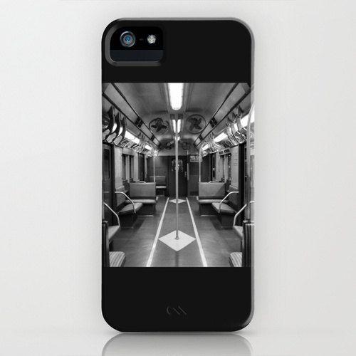 iPhone 5 Plastic Case - New York Subway Car - Black and White. $39.00, via Etsy.
