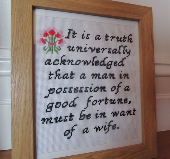 Pride and Prejudice Jane Austen vintage look romantic quote cross stitch pattern PDF, digital download, easy, charted, floral.: