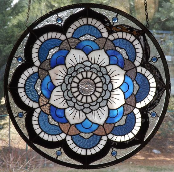 One of a Kind Mandala Panel by connysstainedglass on Etsy