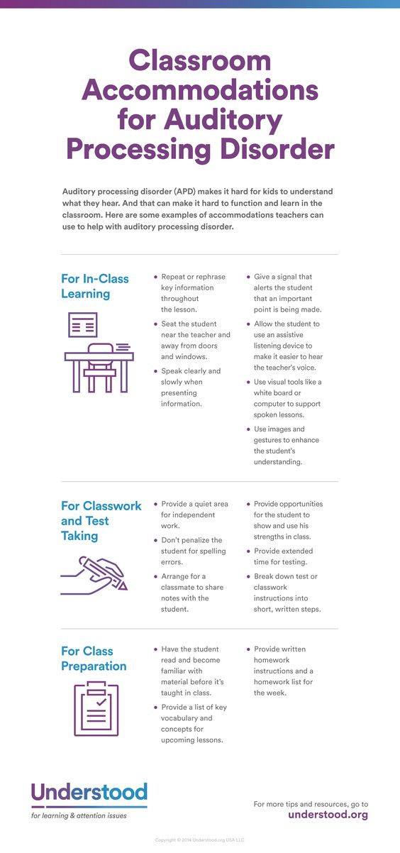 Accommodations for Students With Auditory Processing Disorder - Understood. Repinned by SOS Inc. Resources pinterest.com/sostherapy/.