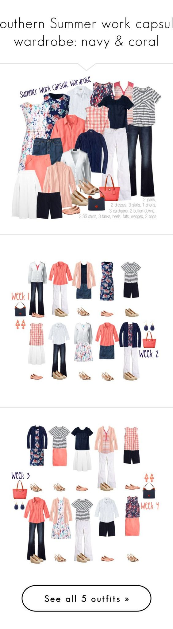 Southern Summer work capsule wardrobe: navy & coral on Polyvore featuring Lands' End, Gap, Boden, J.Crew, Madewell, Miss Selfridge, Dooney & Bourke and plus size clothing