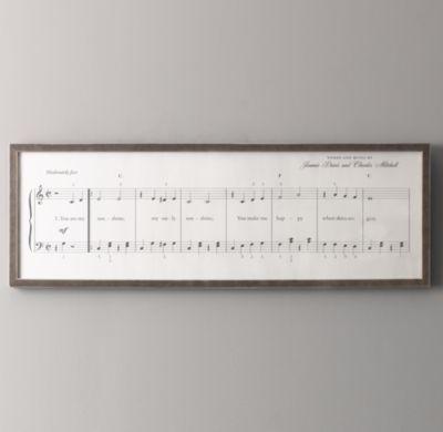 You Are My Sunshine Sheet Music   Wall Art   Restoration Hardware Baby & Child