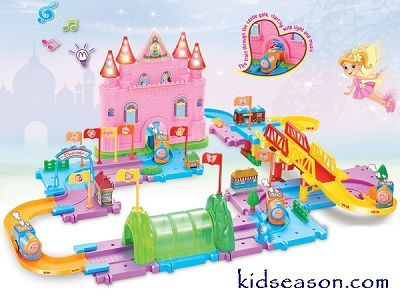 Kidseason Toys, Battery Operated Toys, B/O Cars, ELECTRONIC PRINCESS CASTLE RAIL WAY TRUCK TOYS WITH MUSIC & LIGHT 80PCS,China