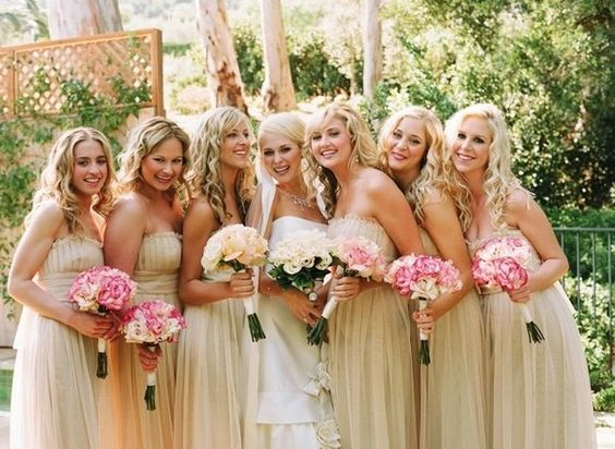 Chiffon Champagne Bridesmaid Dress With Pink And White Flowers Wedding Ideas Pinterest Bridal Parties