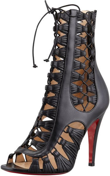 christian louboutin azimut caged leather bootie black