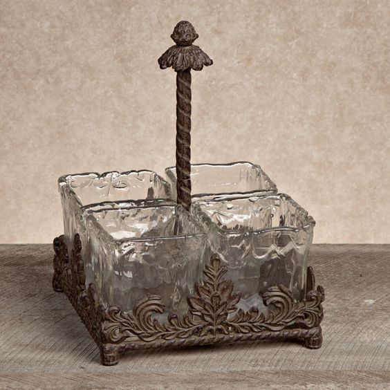 The GG Collection, Glass & Metal Flatware Caddy