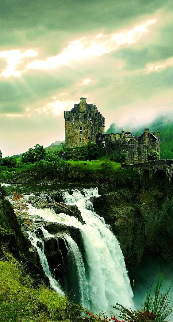 Waterfall Castle | Original photo manipulation tutorial on deviantart. Someone else added the green hue.