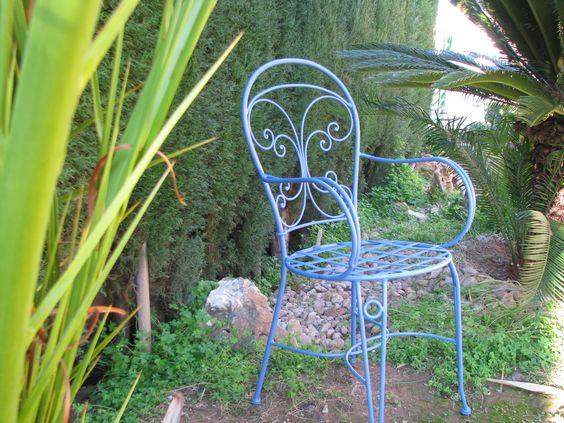 Azul en tus muebles de jardin silla de forja artesanal vida exterior - Bancos de forja para exterior ...