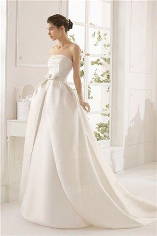 Mode de Bal Sans Bretelles Traîne Chapelle Satin Robe de Mariée