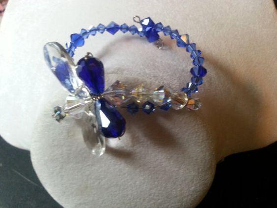 Blue & Crystal Swarovski crystal Dragonfly memory wire bracelet .