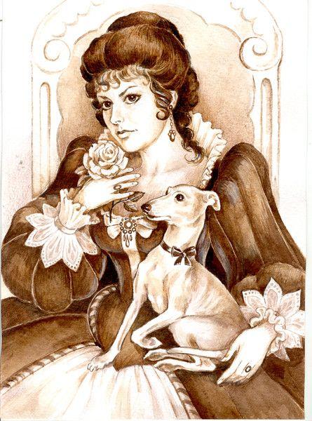 la dama del perrito  (acuarela sobre papel, 2011)