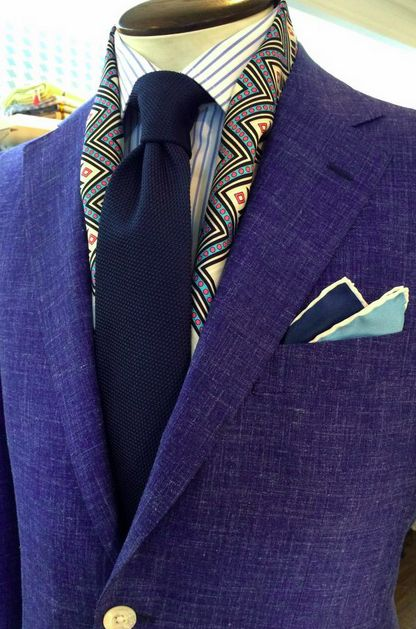 dormeuil:  Check out these summer must-haves: Chambray #bespoke jacket, solid navy grenadine tie, Two tone pocket square and a silk scarf.