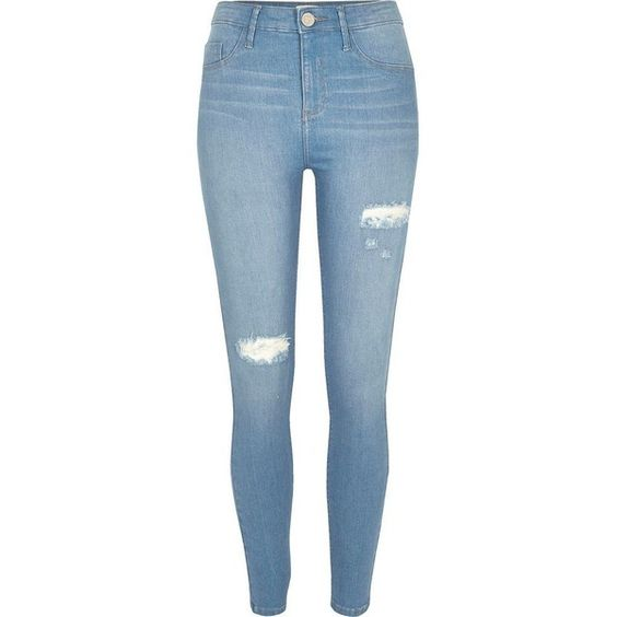River Island Light blue wash ripped Molly jeggings (£65) ❤ liked on Polyvore featuring pants, leggings, jeans, blue, jeggings, women, skinny jean leggings, distressed leggings, ripped leggings and skinny pants