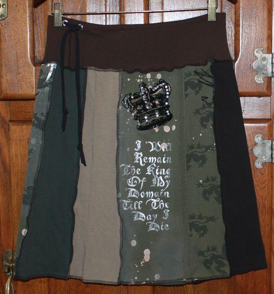 "upcycled sweatshirt t shirt skirt | Black Crown"" Woman's Upcycled T-Shirt Skirt | susieskirts"