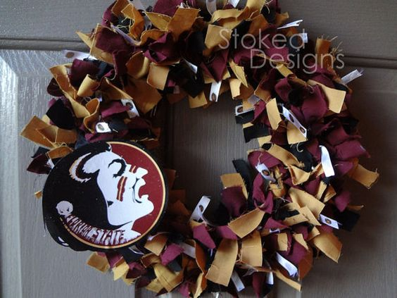 Florida State Seminoles Football Rag Wreath by StokedDesigns, $22.00