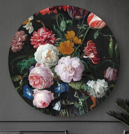 Hip Orgnl Schilderij Stilleven Met Bloemen In Een Glazen Vaas 140cm Wandcirkel Glazen Vaas Vaas Stilleven