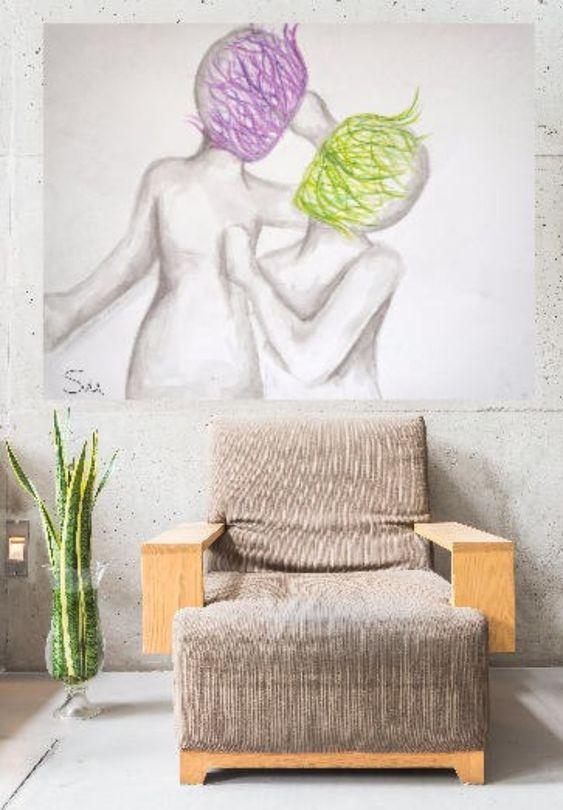 love art, Couple drawing, master Bedroom art, Romantic art ...