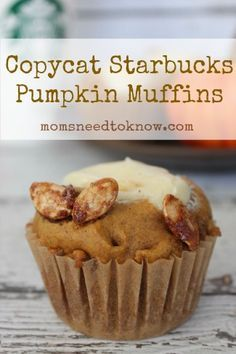 Do you love the pumpkin muffins at Starbucks but hate the cost?  These pumpkin muffins have the same delicious cream cheese filling and candied pumpkin seeds and are an excellent copycat version!