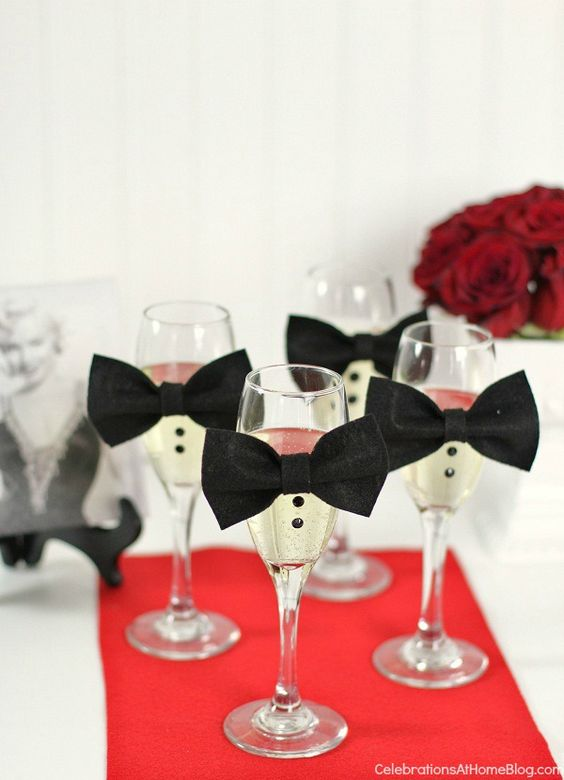 Awards Night Viewing party - champagne flutes with bow ties & buttons: