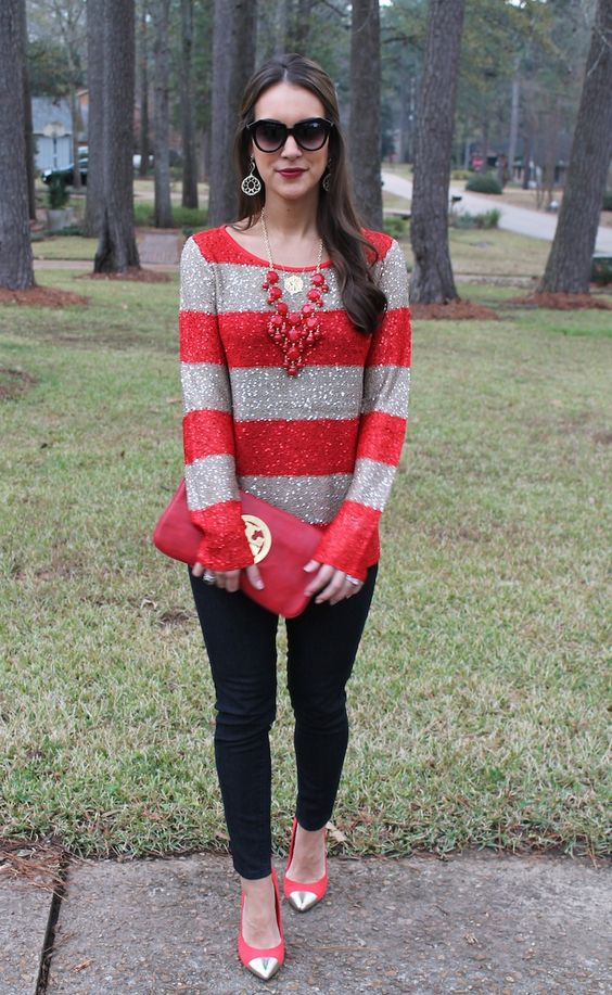 sparkly red and grey striped shirt
