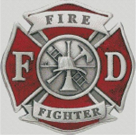 Cross stitch chart, Pattern, Firefighter, Fire Department, Maltese Cross, Badge…