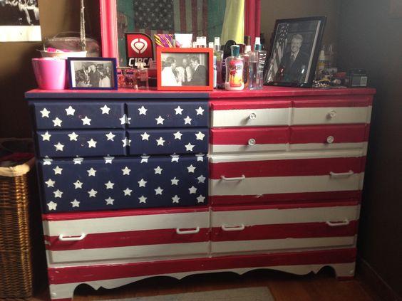 Painted American flag DIY dresser