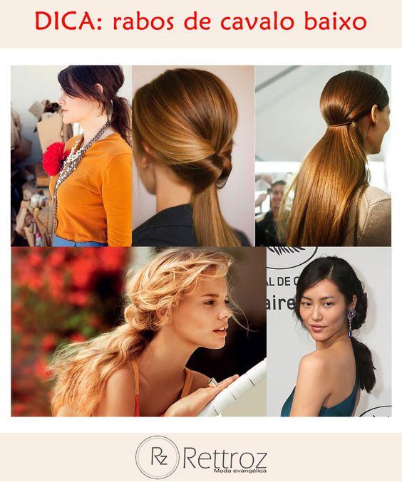 Quer uma solução prática e estilosa para prender os cabelos? Inspire-se nos rabos de cavalo baixos! Veja algumas das propostas tradicionais e outras mais modernas desse penteado: