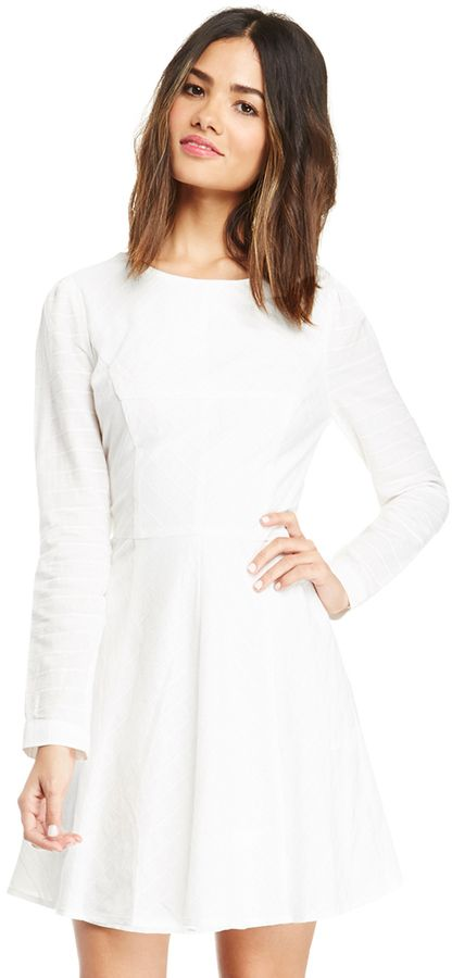 White Skater Dress: Harlyn Long Sleeve Cotton Fit Flare Dress In White Xs. Buy for $194 at DailyLook.