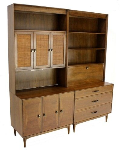 Pair of Mid Century Danish Modern Vintage Bookcases Cabinets Wall Unit