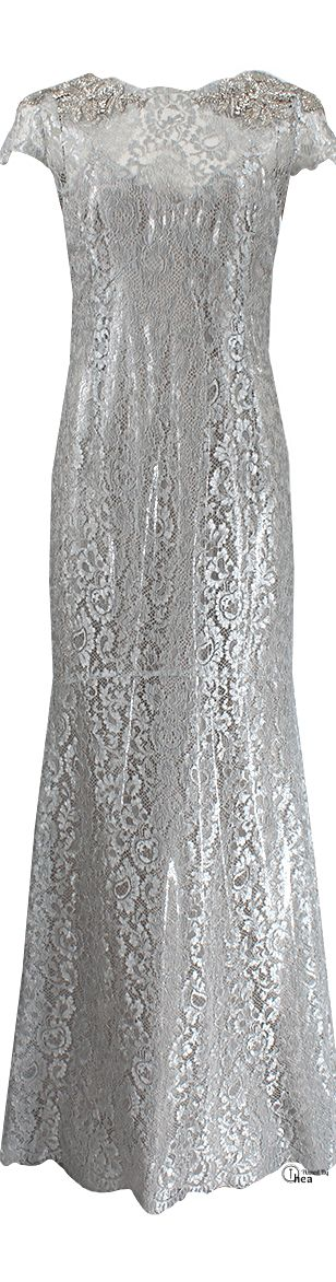 Marchesa ● SS 2014, Embellished metallic lace gown       HC/S