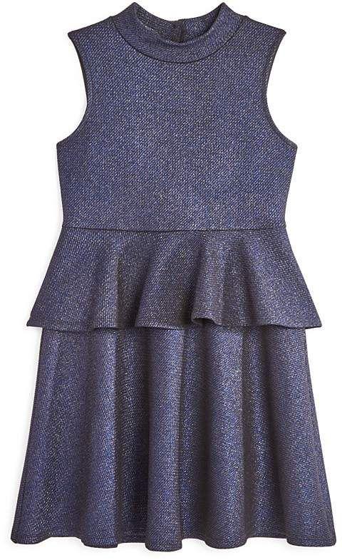 AQUA Girls' Metallic Peplum Dress, Big Kid 100% Exclusive