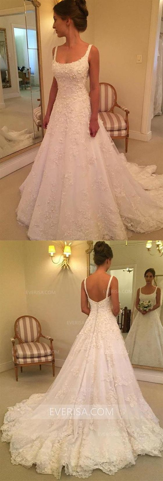 Simple White Sleeveless Backless Lace Wedding Dresses Long Bridal Gown Sweep Train Wedding Dress Wedding Dress Train Backless Lace Wedding Dress [ 1650 x 560 Pixel ]