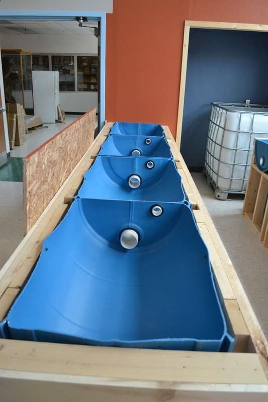 Aquaponics System Linked Grow Beds With Overflow Water Level At