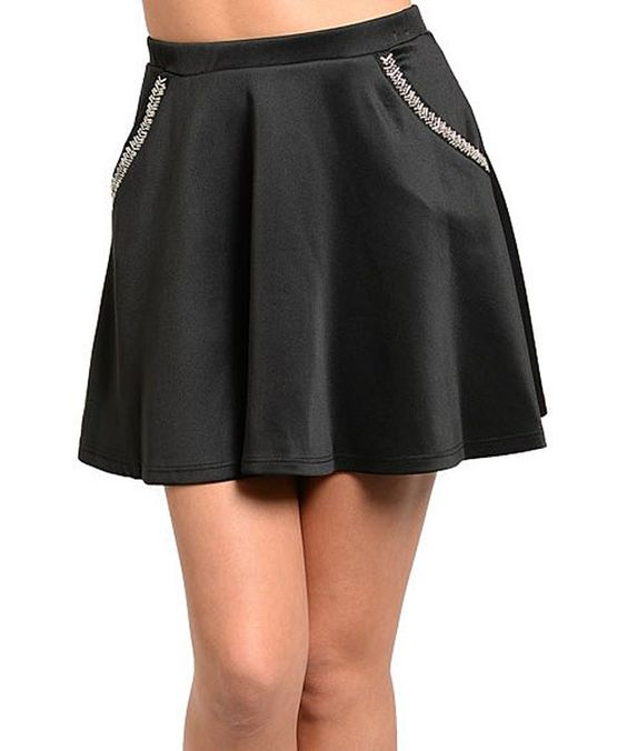 Look at this Black Beaded A-Line Skirt on #zulily today!