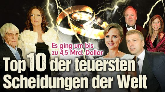 Bis zu 4,5 Milliarden Dollar - Die Top 10 der teuersten Scheidungen der Welt http://www.bild.de/geld/wirtschaft/wirtschaft/so-teuer-sind-rosenkriege-40292876.bild.html