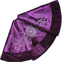 Gorgeous velvety purple Christmas tree skirt to go with your purple Christmas decor!