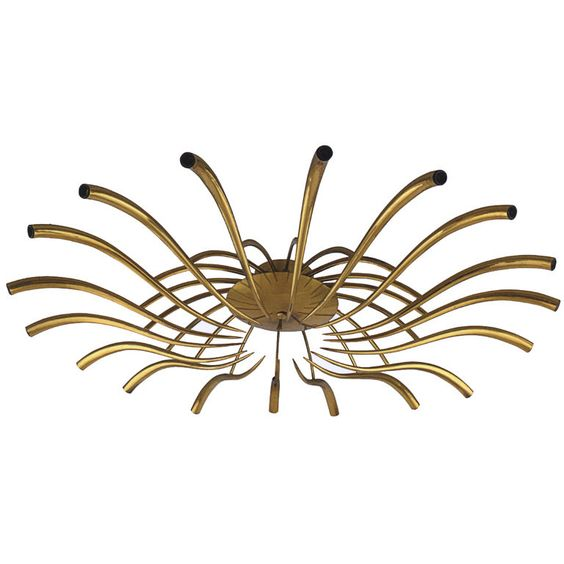 omfg. A large eighteen arm brass ceiling fixture by Oscar Torlasco, Italian C. 1960's at craag van den brulle, NYC