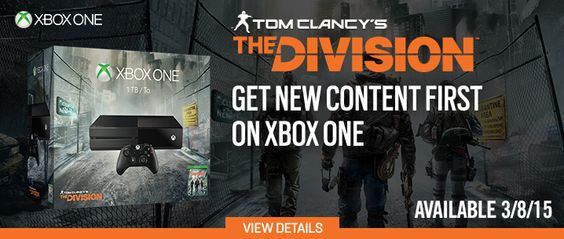 GAME OF THE WEEK Free bonuses with Tom Clancy's The Division. Pre-order now! Get new content first on Xbox One! Pre-order Xbox One 1TB Tom Clancy's The Division Console Bundle, available 3/8/15 TO BUY CLICK ON LINK BELOW http://tomatovisiontv.wix.com/tomatovision2#!video-games/c1zzn